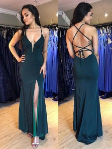 Charming Sheath Halter Dark Green Elastic Satin Long Prom Dresses, Sexy Evening Dresses Under 100