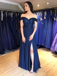 Charming Sheath Off the Shoulder Slit Navy Lace Long Prom Dresses, Formal Elegant Evening Dresses