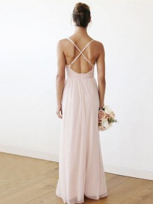 Charming Sheath V Neck Cross Back Peal Pink Chiffon Bridesmaid Dresses Under 100 BD0821001