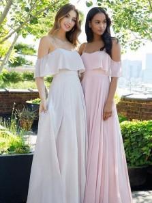 Charming A Line Off the Shoulder Spaghetti Straps Chiffon Long Bridesmaid Dresses Under 100 BD0821002
