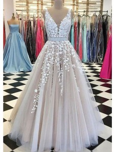 Elegant Ball Gown V Neck Open Back Apricot and White Lace Long Prom Dresses, Quinceanera Dresses PD0821002