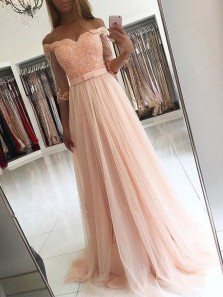 Charming A Line Off the Shoulder Half Sleeves Peach Lace Long Prom Dresses with Beading, Formal Elegant Evening Dresses PD0821003