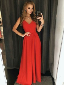 Charming A Line V Neck Open Back Satin Red Long Prom Dresses, Simple Evening Dresses Under 100 PD0821004