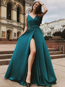 Charming A Line V Neck Open Back Slit Chiffon Turquoise Long Prom Dresses, Sexy Evening Dresses