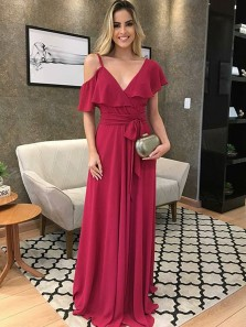 Charming A Line One Shoulder Wine Chiffon Long Prom Dresses, Formal Elegant Evening Dresses