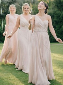 Elegant Sheath One Shoulder Apricot Chiffon Long Bridesmaid Dresses Under 100 BD0821005