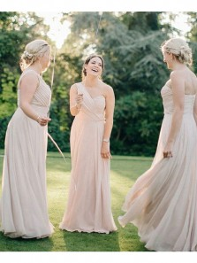Elegant Sheath One Shoulder Apricot Chiffon Long Bridesmaid Dresses Under 100 BD0821005