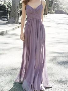 Charming A Line V Neck Spaghetti Straps Long Chiffon Bridesmaid Dresses Under 100 BD0821007