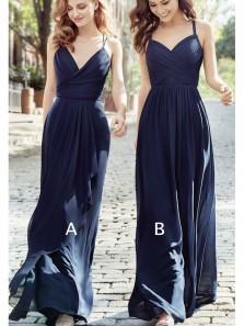 Simple Sheath V Neck Navy Chiffon Long Bridesmaid Dresses Under 100 BD0821008