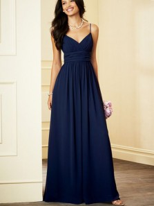 Charming A Line V Neck Navy Chiffon Long Bridesmaid Dresses Under 100 BD0821007