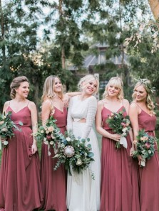 Charming V Neck Spaghetti Straps Chiffon Long Bridesmaid Dresses Under 100 BD0821010