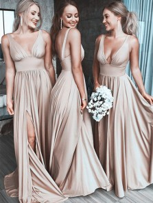 A Line V Neck Backless Champagne Long Bridesmaid Dresses Under 100 BD0725001