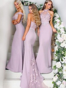 Charming Mermaid Mismatched Halter Grey Lace Long Bridesmaid Dresses with Train BD0818002