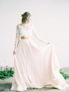 Elegant A Line Two Piece High Neck Long Sleeves Lace Wedding Dresses, Beach Wedding Dresses