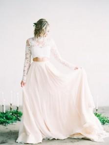 Elegant A Line Two Piece High Neck Long Sleeves Lace Wedding Dresses, Beach Wedding Dresses