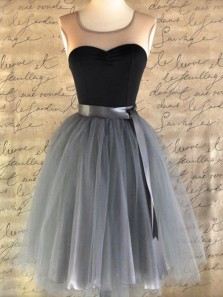 Cute A Line Round Neck Tulle Grey Short Homecoming Dresses, Simple Short Prom Dresses