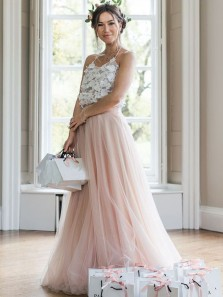 Fairy A Line Halter Tulle Pink White Lace Long Bridesmaid Dresses, Beautiful Bridesmaid Gown BD0822001