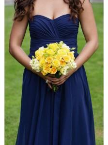 Elegant A Line Sweetheart Navy Chiffon Long Bridesmaid Dresses Under 100 BD0814002