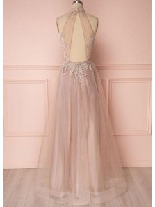 Charming A Line Halter Open Back Peach Tulle Lace Prom Dresses, Elegant Evening Dresses with Appliques PD0822002
