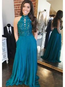 Charming A Line Halter Open Back Chiffon Peacock Blue Lace Long Prom Dresses, Formal Elegant Evening Dresses
