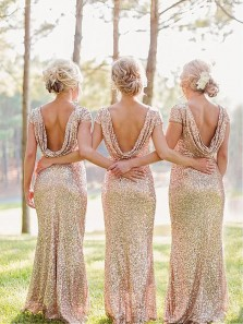 Elegant Mermaid Round Neck Open Back Cap Sleeves Sequins Long Bridesmaid Dresses BD0822002