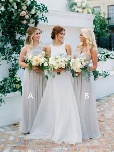 Elegant Sheath V Neck Open Back Chiffon Grey Long Bridesmaid Dresses Under 100 BD0822004