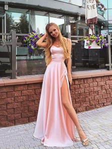 Charming A Line Sweetheart Spaghetti Straps Slit Pink Long Prom Dresses, Beautiful Evening Dresses PD0822006