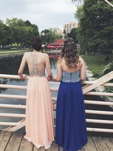 Gorgeous A Line Round Neck Apricot Chiffon Long Prom Dresses with Beading, Fariy Evening Party Dresses