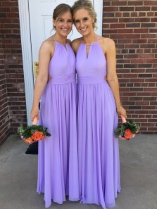 Elegant A Line Halter Backless Chiffon Lavender Long Bridesmaid Dresses Under 100 BD0822006