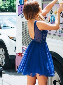 Cute A Line V Neck Tulle Beaded Royal Blue Short Homecoming Dresses with Appliques, Formal Short Prom Dresses HD0812008