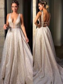 Gorgeous Ball Gown V Neck Open Back Sequins Grey & Champagne Long Wedding Dresses WD0824001
