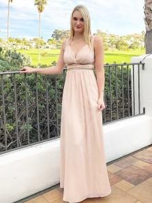 Charming Sheath V Neck Open Back Pink Chiffon Long Prom Dresses with Beading, Elegant Evening Dresses