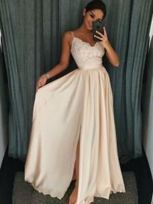 Elegant A Line V Neck Spaghetti Straps Champagne Satin Lace Long Prom Dresses, Elegant Evening Dresses PD0824002