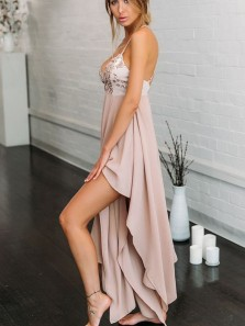 Charming A Line V Neck Spaghetti straps Backless Pink Lace Long Prom Dresses, Elegant Party Dresses