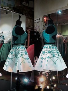 Cute A Line Two Piece Round Neck Turquoise Short Homecoming Dresses with Beading, Formal Short Prom Dresses