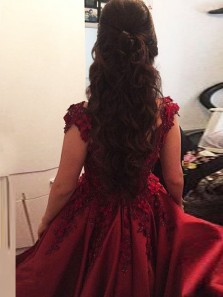 Elegant Ball Gown Off the Shoulder Open Back Navy Blue Prom Dresses with Appliques