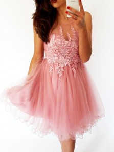 Cute A Line Round Neck Coral Tulle Lace Short Homecoming Dresses, Short Prom Dresses
