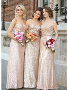 Elegant Sheath Sweetheart Sequins Champagne Long Bridesmaid Dresses
