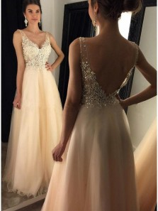 Gorgeous A Line V Neck Open Back Champagne Lace Long Prom Dresses with Beading, Elegant Formal Evening Party Dresses PD0824006