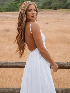 Charming A Line V Neck Backless White Lace Long Wedding Dresses, Beach Wedding Dresses
