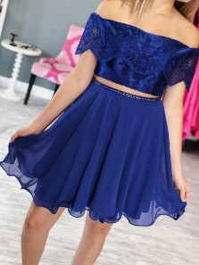 Cute A Line Tow Piece Off the Shoulder Royal Blue Chiffon Lace Short Homecoming Dresses with Beading, Short Prom Dresses