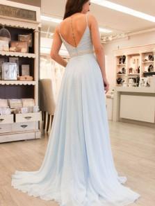 Gorgeous V Neck Open Back Light Blue Beaded Long Prom Dresses with Train, Elegant Evening Dresses PD0824009