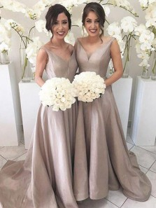 Gorgeous A Line V Neck Open Back Brown Satin Long Bridesmaid Dresses with Train BD0824005