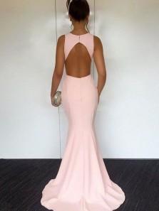 Elegant Mermaid Round Neck Open Back Elastic Satin Pink Long Bridesmaid Dresses BD0825001