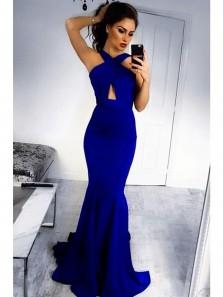 Charming Mermaid Halter Backless Elastic Satin Royal Blue Long Prom Dresses, Charming Evening Dresses PD0825002