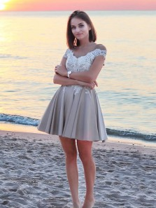 Cute A Line Off the Shoulder Open Back White Lace Short Homecoming Dresses, Fairy Short Prom Dresses HD0825001
