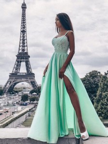 Gorgeous A Line Sweetheart Backless Slit Blue Lace Long Prom Dresses, Elegant Evening Dresses