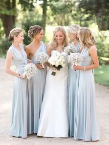 Elegant A Line Free Collocation Elastic Satin Light Blue Long Bridesmaid Dresses Under 100 BD0825002