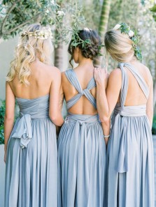 Elegant A Line Free Collocation Elastic Satin Light Blue Long Bridesmaid Dresses Under 100 BD0825002