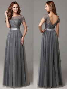 Elegant A Line Scoop Open Back Short Sleeves Grey Lace Long Bridesmaid Dresses BD0825004